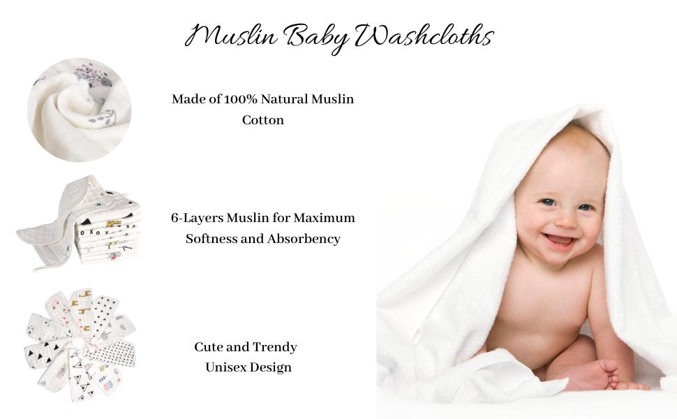 BabyBliss Muslin Washcloths