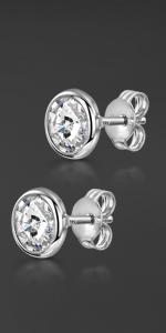 Silver Swarovski Bezel Earrings