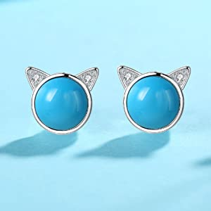 stud earrings hypoallergenic jewelry for girls turquoise birthstone gemstone native american summer
