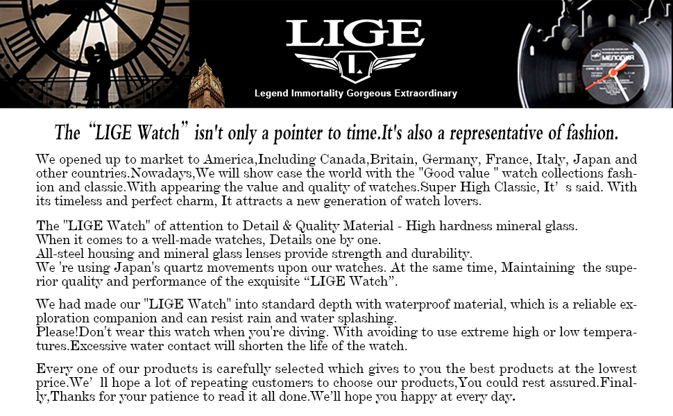 LIGE MENS WATCHES Band