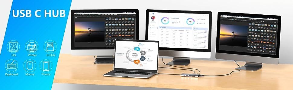 macbook pro dock station usb c dual hdmi adapter