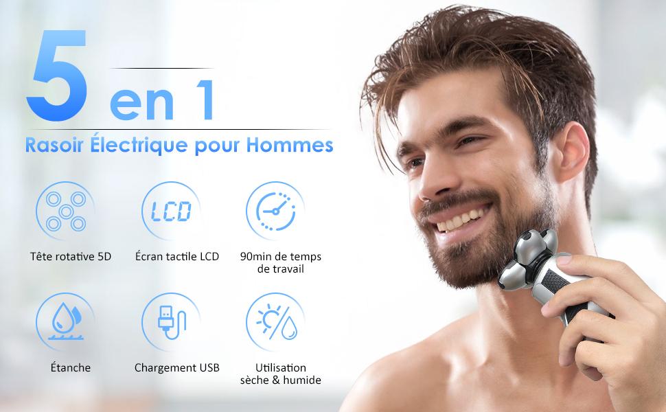 5 en 1 Rasoir électrique pour hommes
