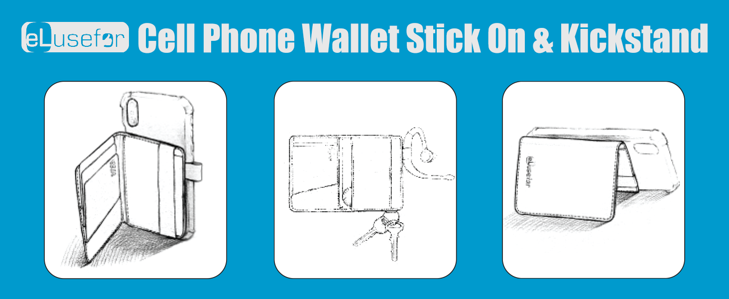 eLusefor Cell Phone Wallet Stick on Kickstand Phone Stand