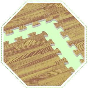 Soft Wood Grain EVA Foam Interlocking Floor Mats 72 Square Feet Exercise