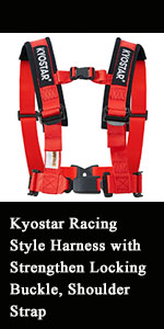 Kyostar 5 point Racing Style Harness with Strengthen Locking Buckle, Shoulder Strap