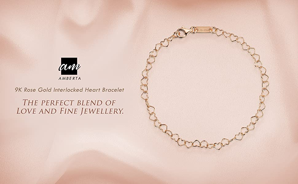 Amberta 9ct Genuine 375 Gold - Joined Hearts Chain Bracelet for Women - Various Styles - Adjustable