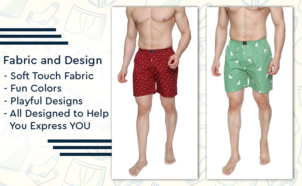 SPN-ONL Innerwear boxers colorful different pack of 3 shorts casual fun men mens cotton