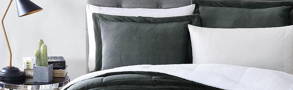 3-Piece Micromink Sherpa Down Alternative Comforter Set