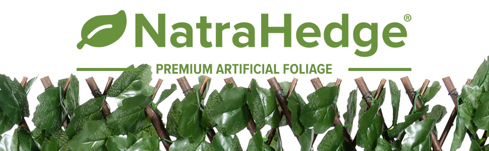 NatraHedge Artificial Silk Ivy Leaf Expandable Lattice Wood Frame