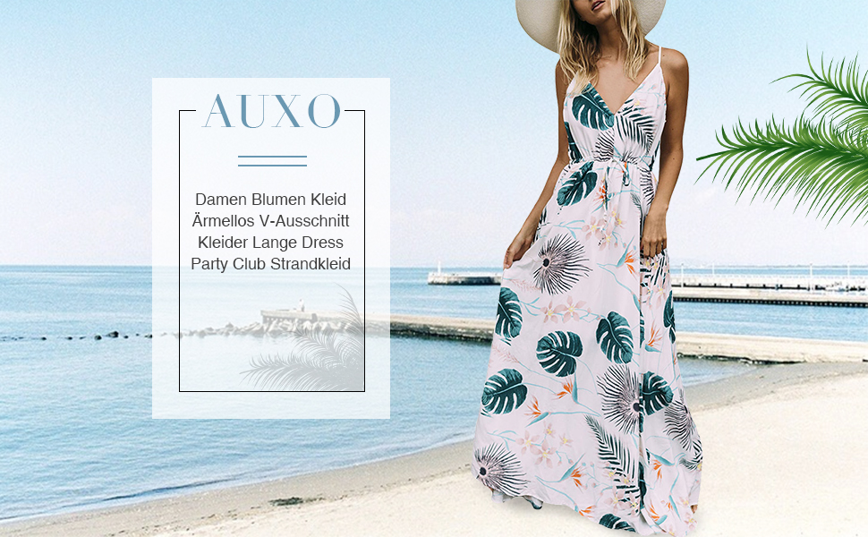 Auxo Damen Blumen Kleid /Ärmellos V-Ausschnitt Kleider Lange Dress Party Club Strandkleid