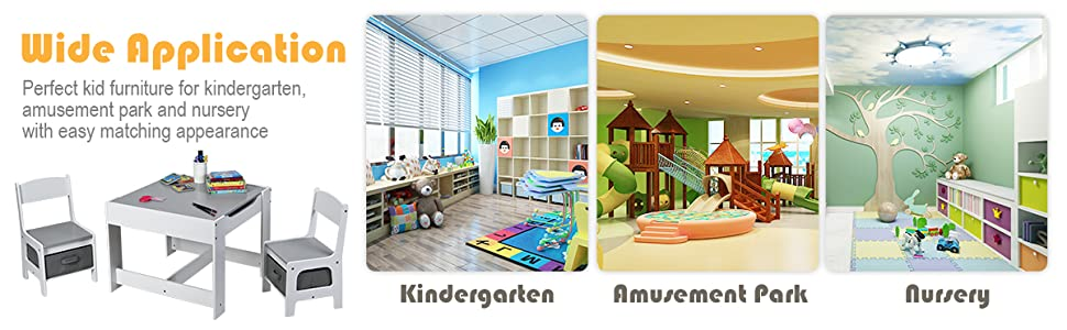 Wooden Table Furniture for Toddlers Drawing, Reading, Train, Art Playroom