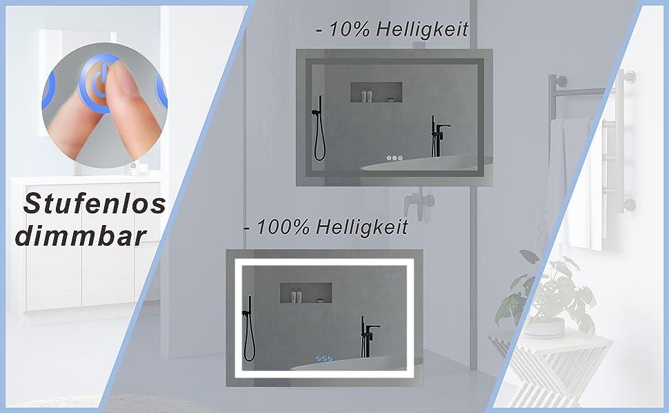 Badezimmer Spiegel Beleuchtet Licht Wandspiegel 100x70cm BRUSSELS Typ C