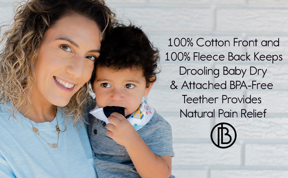 2 Teether Bibs /& 2 Bandana Bibs Bazzle Baby Bandana Bibs with Teethers for Natural Teething Relief BPA-Free Silicone Soother Bibs Cotton /& Fleece Soak Up Drool 4pk High Up