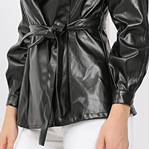 Women's Long Sleeve Notched Lapel Open Front Button Cuff Tie Waist Belted Leather Biker Jacket