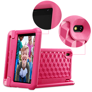 """tablet 5 - Dragon Touch KidzPad Y88X 7 Kids Tablet With WiFi, Android 10, 7"""" IPS HD Display, 32GB ROM, KIDOZ Pre-Installed, With Disney Authorized Contents, Kid-Proof Case, Shoulder Strap And Stylus, Pink"""