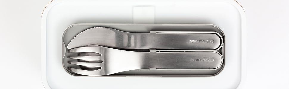 monbento - MB Pocket negro Onyx cubiertos para llevar con estuche - Cubiertos portatiles con 3 piezas de acero inoxidable tenedor, cuchillo, cuchara - ...