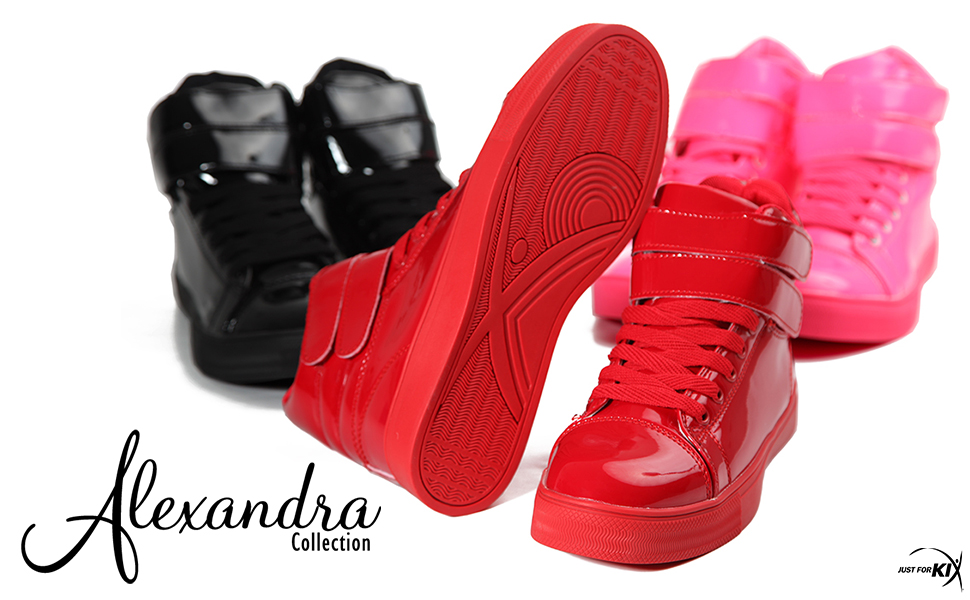 Alexandra brand sneakers, alexandra glossy sneaker, liquid gloss sneaker