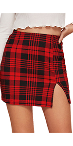 plaid split mini skirt
