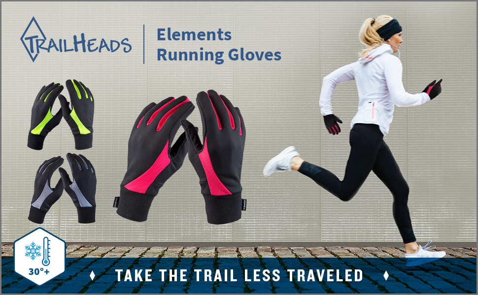 Woman runs on sidewalk in pink running gloves. Hi vis and black gloves are also displayed