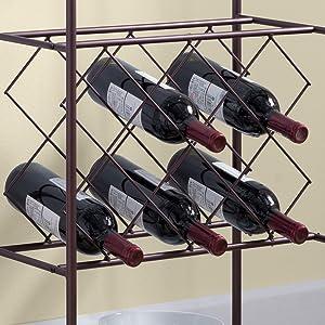 Keyent Metal Wine Rack Stand with Glass Holder /& Shelves Kings Brand Furniture