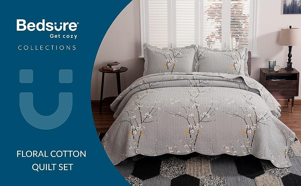 get cozy with the bedsure floral cotton quilt set