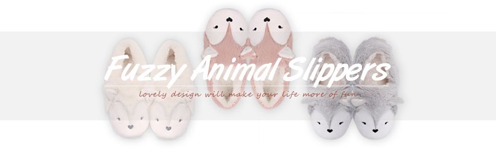 fuzzy animal slippers