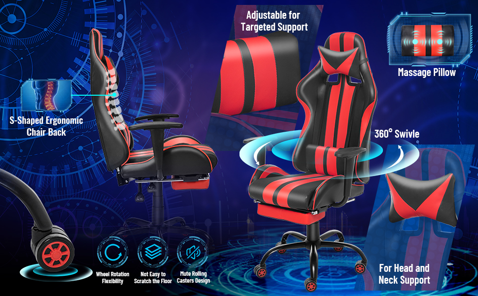 Video Gaming Chair,PC Gaming Chair,Computer Chair, E-Sports Chair,Office Chair