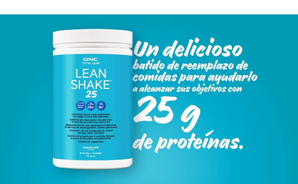 GNC Total Lean® Lean Shake ™ 25 - Chocolate, 16 porciones, batido de reemplazo de comidas
