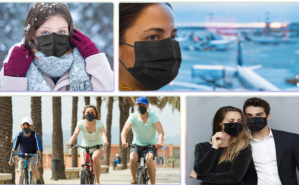 Disposable Face Masks 50 Pack Black Face Mask for Men Women Adults