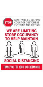 Please Stop We are Limiting Store Occupancy Decal Maintain Social Distancing