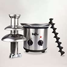 chocolate fountain, tier, fondue, party, stainless steel, total chef portable, auger, melting