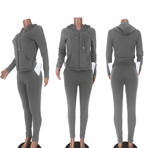 2 Piece Workout for Women - Long Sleeve Solid Full Zip Hoodies Tops + Bodycon Long Pants Jumpsuits