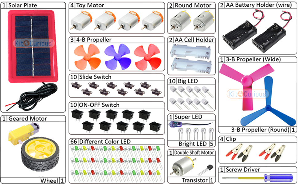 Kit contents of many electronic components