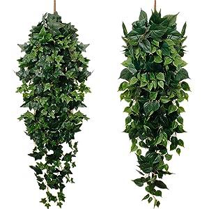 fake silk green garland faux hanging plants for wall boho jungle house decor