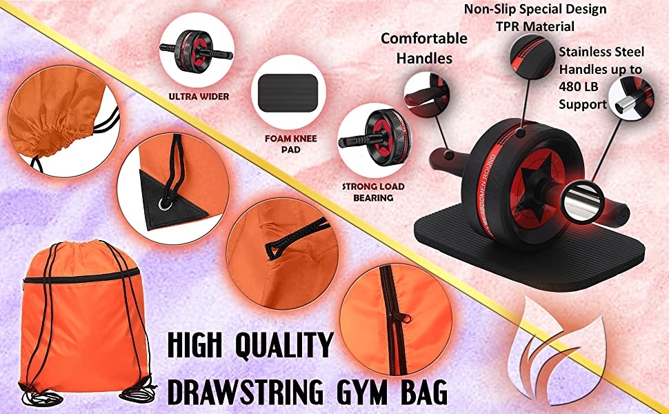 Ab roller for abs workout with string backpack