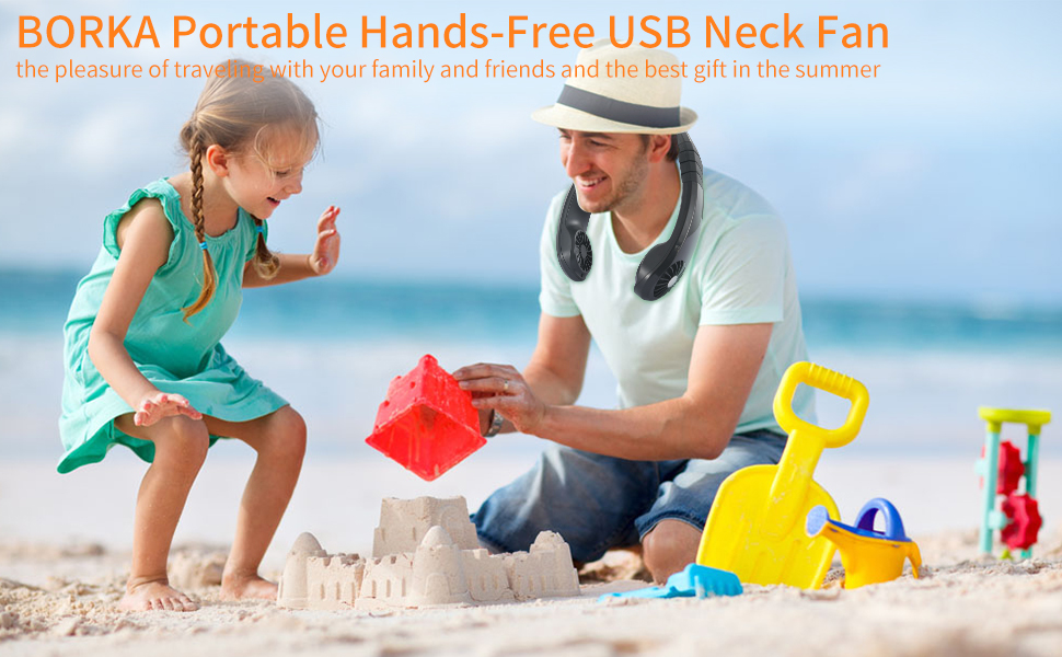 2 MINI HANDS FREE PERSONAL cooling FAN NECKLACE summer air beach tools fans NEW