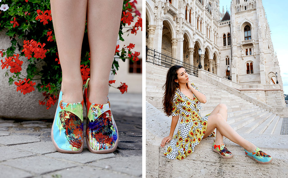 uin butterfly canvas slip on shoes