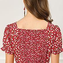 Allegra K Women's Cherry Print Casual Smock Ruffle Short Sleeve Chiffon a Line Dress