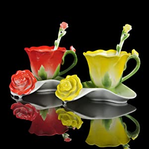 Hand Crafted Flower Cups China Porcelain Coffee Tea Cups