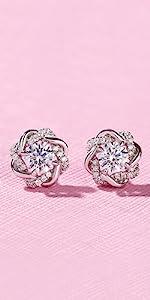 Jeuliia 3 carat love knot stud earring 925 silver hypoallergenic stud earrings