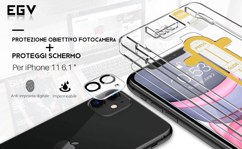 EGV 4 Pezzi Vetro Temperato per iPhone 11 Pellicola Protettiva ...