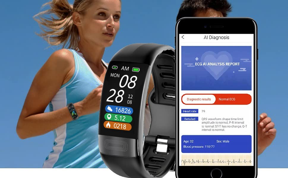 Fitness Tracker with dual-detection, AI reports in App helps you know your condition