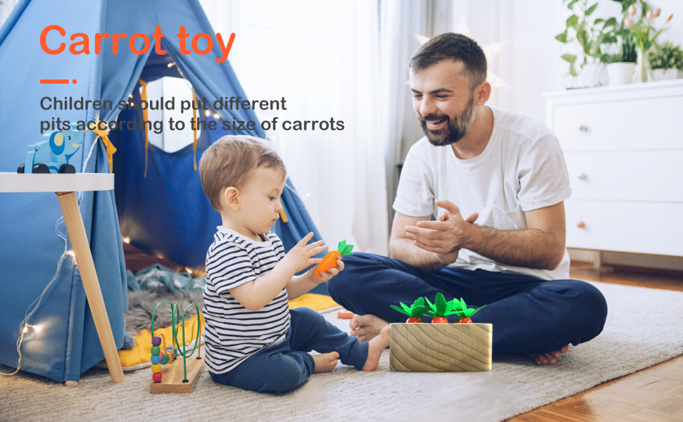 Educational Wooden Toys for 1 Year Old Toddlers, Carrots Harvest Shape Size Sorting Game