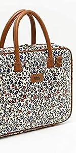 maletin con estampado floral misako, maletin portaordenador y portadocumentos de mujer
