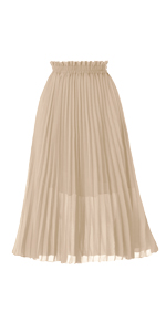 Women's Pleated A-Line High Waist Swing Flare Midi Skirt
