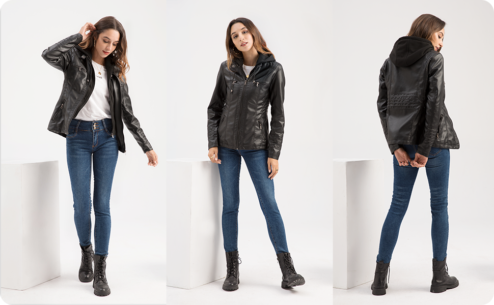 tagoo faux leather coat jacket, removable hooded