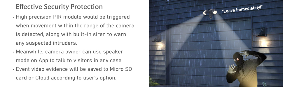 outdoor flood light camera siren alarm 2 way audio motion detection