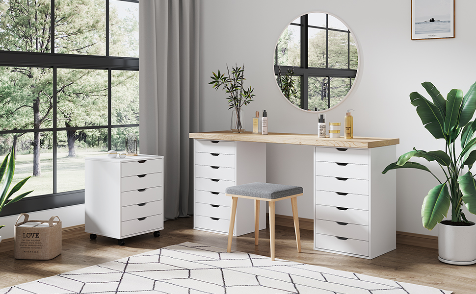 Amazon Com Devaise 7 Drawer Chest Wood Storage Dresser Cabinet With Wheels White Furniture Decor