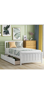 Twin Bed Frame with Drawers