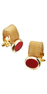 HAWSON Mens Cufflinks with Chain - Stone and Shiny Gold Tone Shirt Accessories - Party Gifts for Men